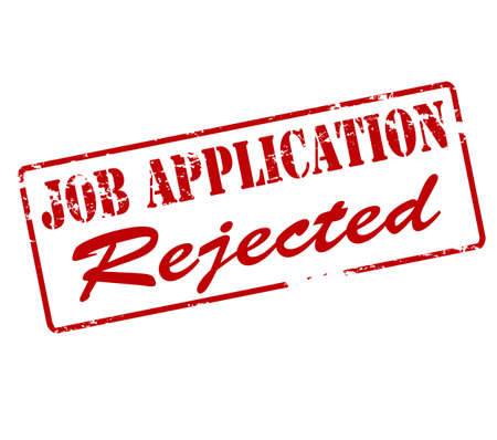 job application: Rubber stamp with text job application rejected inside, vector illustration
