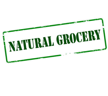 lifelike: Rubber stamp with text natural grocery inside, vector illustration