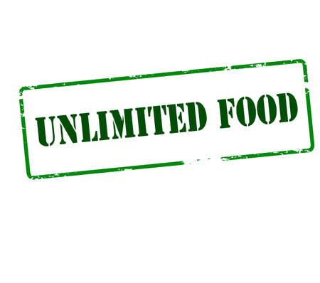 Rubber stamp with text unlimited food inside, vector illustration