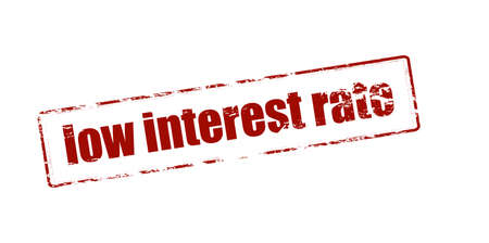 interest rate: Rubber stamp with text low interest rate inside, vector illustration Illustration