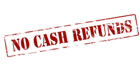 restitution: Rubber stamp with text no cash refunds inside, vector illustration