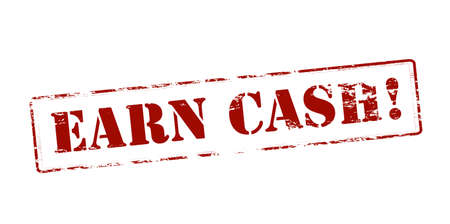 obtain: Rubber stamp with text earn cash inside, vector illustration Illustration