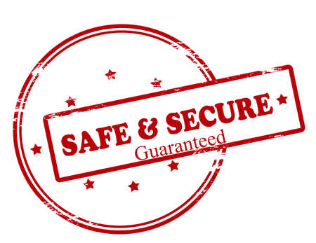 assure: Rubber stamp with text safe and secure guaranteed inside, vector illustration