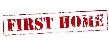 first home: Rubber stamp with text first home inside, vector illustration