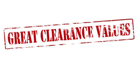 clearing: Rubber stamp with text great clearance values inside, vector illustration