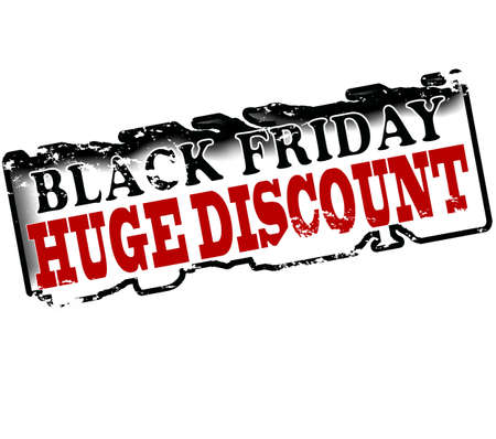 abatement: Rubber stamp with text black friday huge discount inside, vector illustration