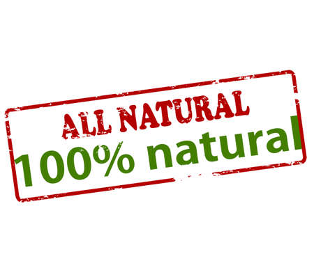 lifelike: Rubber stamp with text all natural one hundred percent inside, vector illustration