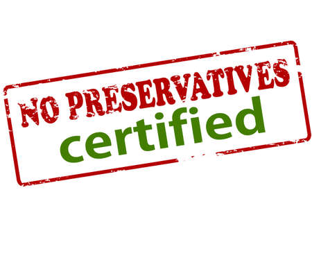 preservatives: Rubber stamp with text no preservatives certified inside, vector illustration