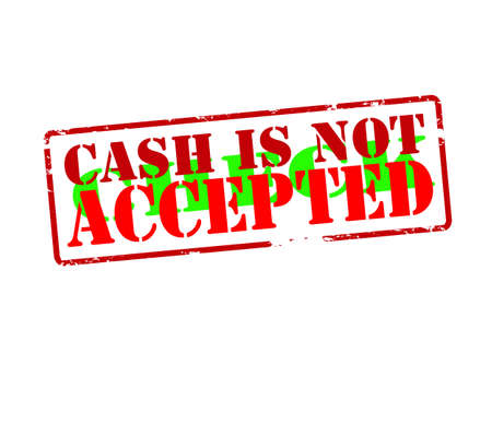 accepted: Rubber stamp with text cash is not check accepted inside, vector illustration