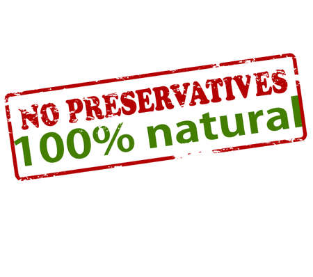 Rubber stamp with text no preservatives one hundred percent natural inside, vector illustration
