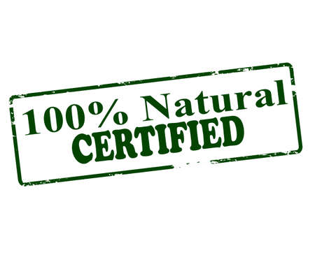 lifelike: Rubber stamp with text one hundred percent natural certified inside, vector illustration