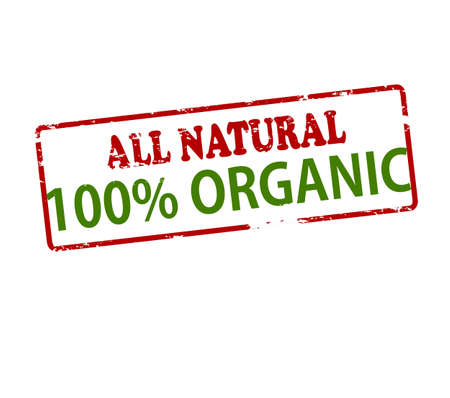 lifelike: Rubber stamp with text all natural one hundred percent organic inside, vector illustration