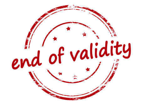 end: Rubber stamp with text end of validity inside, vector illustration