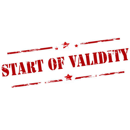validez: sello de goma con el texto de inicio de validez en el interior, ilustraci�n vectorial Vectores