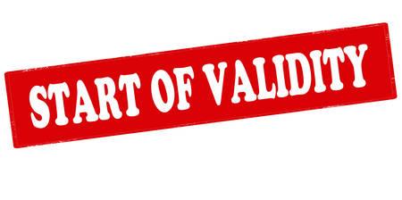 validez: sello de goma con el texto de inicio de validez en el interior, ilustración vectorial Vectores