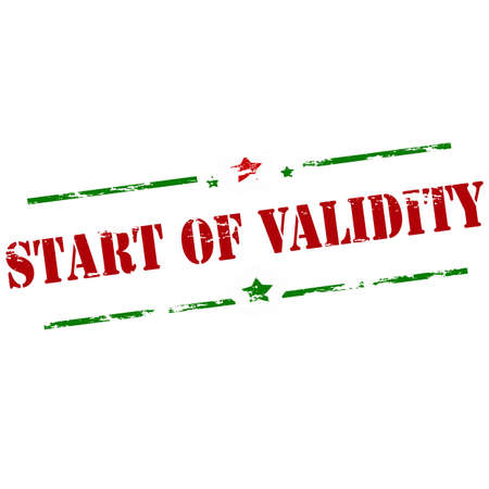 validity: Rubber stamp with text start of validity inside, vector illustration