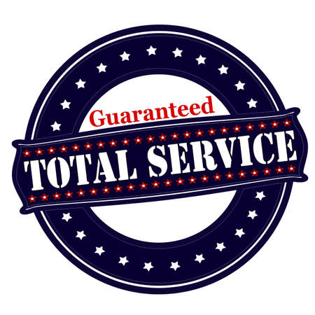 total: Rubber stamp with text total service guaranteed inside, vector illustration Illustration