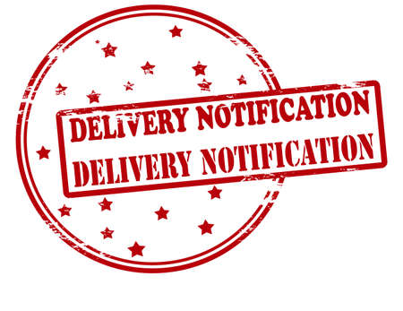 notification: Rubber stamp with text delivery notification inside, vector illustration