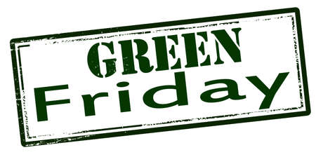 weekdays: Rubber stamp with text green Friday inside, vector illustration