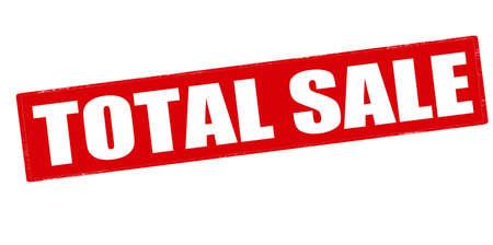 total: Rubber stamp with text total sale inside, vector illustration Illustration