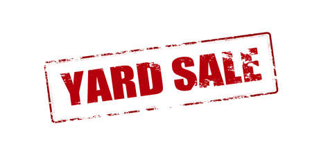 attentions: Rubber stamp with text yard sale inside, vector illustration