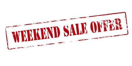 bid: Rubber stamp with text weekend sale offer inside, vector illustration Illustration