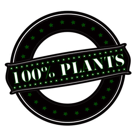 hundred: Rubber stamp with text one hundred percent plants inside, vector illustration`