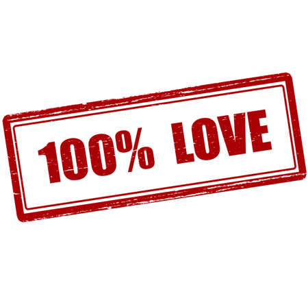 ne: Rubber stamp with text one hundred percent love inside, vector illustration`