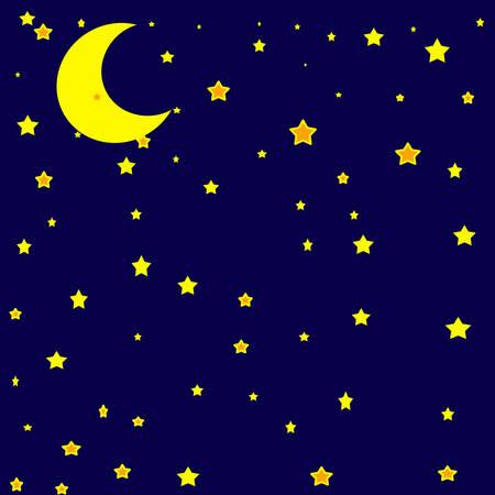 yellow star: Moon in the sky ,vector illustration Illustration