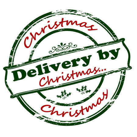 Rubber stamp with text delivery by Christmas inside, vector illustration`