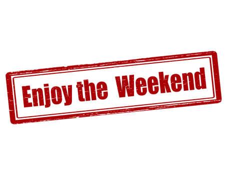 enjoy: Rubber stamp with text enjoy the weekend inside, vector illustration` Illustration