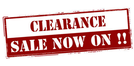 forwards: Rubber stamp with text clearance sale now on inside, vector illustration` Illustration