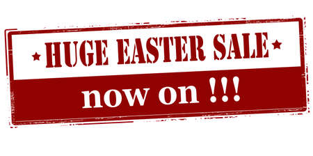 tremendous: Rubber stamp with text huge Easter sale now on inside, vector illustration Illustration