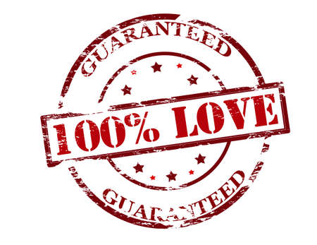 one hundred: Rubber stamp with text one hundred percent love guaranteed inside, vector illustration