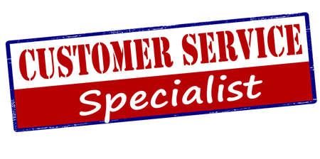 adept: Rubber stamp with text customer service specialist inside, vector illustration
