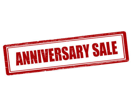 yearly: Rubber stamp with text anniversary sale inside, vector illustration