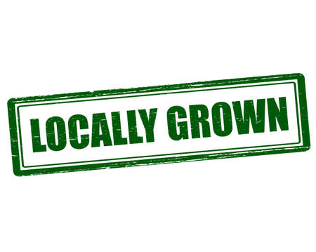 grown: Rubber stamp with text locally grown inside, vector illustration