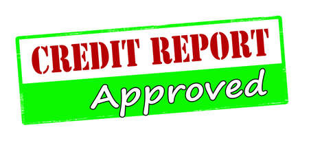 credit report: Rubber stamp with text credit report approved inside, vector illustration
