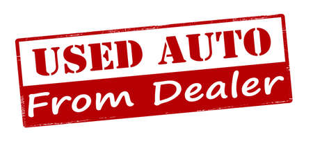 outworn: Rubber stamp with text used auto from dealer inside, vector illustration Illustration
