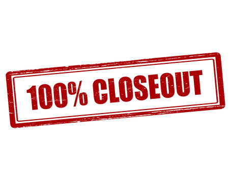 closeout: Rubber stamp with text one hundred percent closeout inside, vector illustration