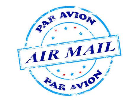 par avion: Rubber stamp with text air mail par avion inside, vector illustration