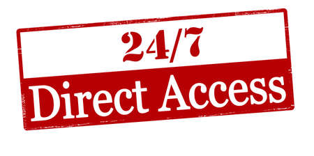 accession: Rubber stamp with text twenty four seven direct access inside, vector illustration