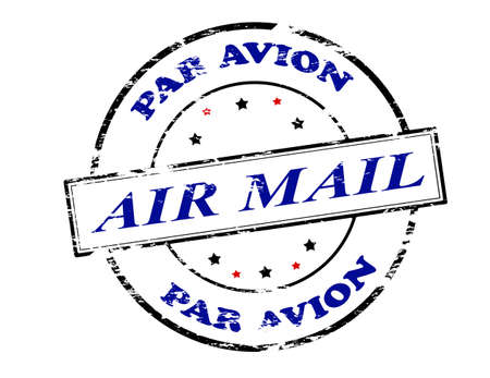 par: Rubber stamp with text air mail par avion inside, vector illustration