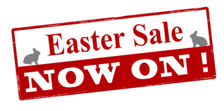 forwards: Rubber stamp with text Easter sale now on inside, vector illustration Illustration