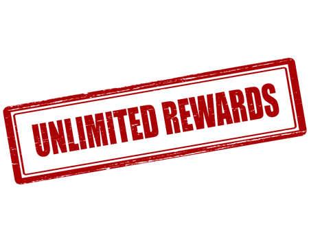 remuneraci�n: sello de goma con el texto recompensas ilimitadas interior, ilustraci�n vectorial