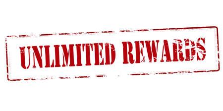 remuneraciones: sello de goma con el texto recompensas ilimitadas interior, ilustraci�n vectorial