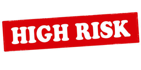 peril: Rubber stamp with text high risk inside, vector illustration