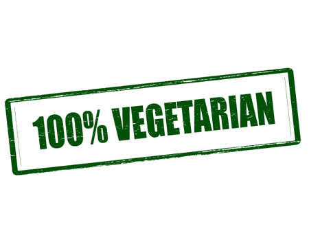one hundred: Rubber stamp with text one hundred percent vegetarian inside, vector illustration