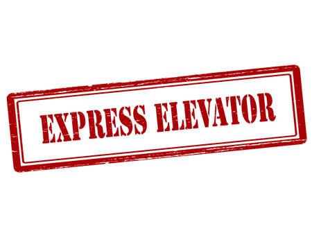 hoist: Rubber stamp with text express elevator inside, vector illustration