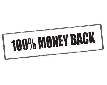 astern: Rubber stamp with text one hundred percent money back inside, vector illustration